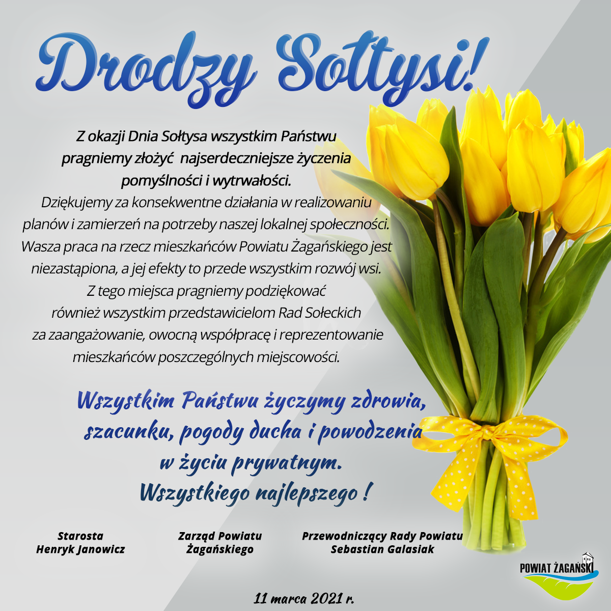 Ilustracja do informacji: Z okazji Dnia Sołtysa od Powiatu Żagańskiego wszystkiego najlepszego!